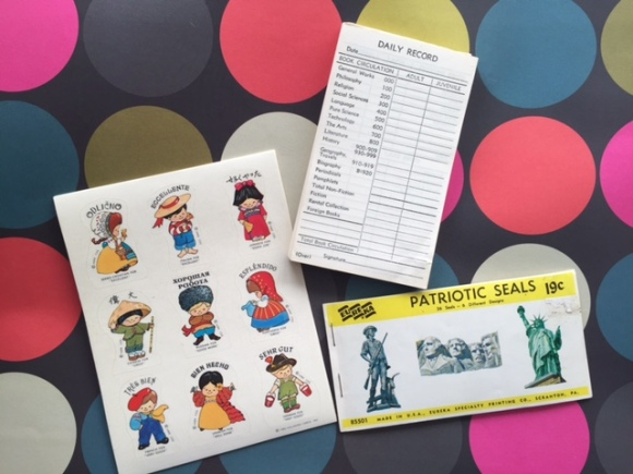 vintage foreign language teacher stickers, vintage Eureka patriotic seals, vintage librarian record