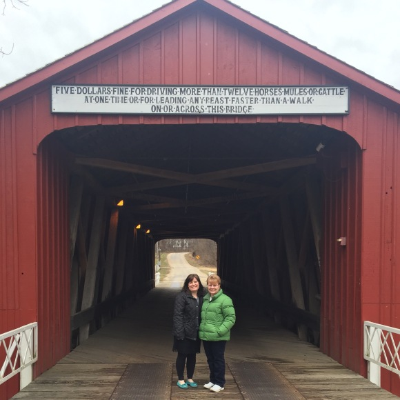 Princeton Covered Bridge, mom and me