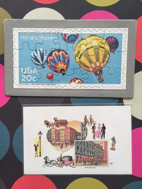 vintage USPS puzzle postcard, Vintage Berghoff chicago postcard