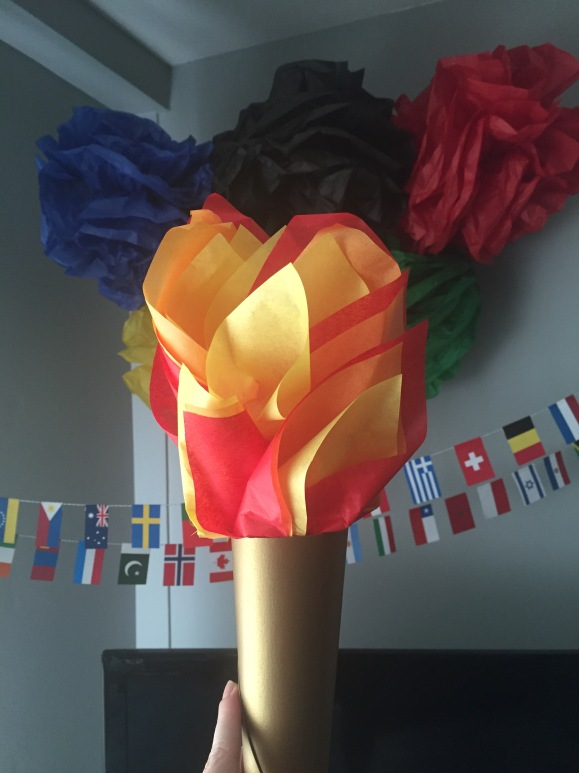 tissue and paper olympic torch, Olympics decorations