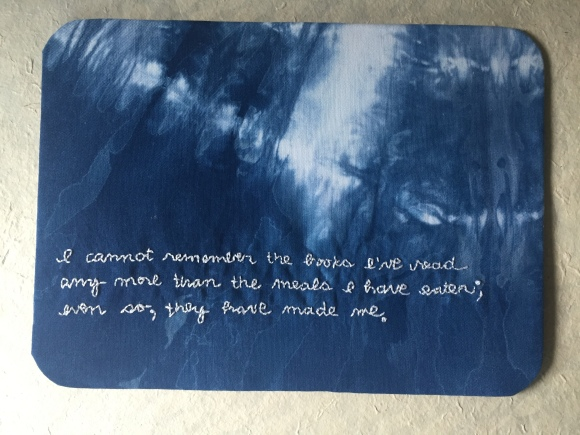 Kimberly Adami-Hasegawa embroidery project, Ralph Waldo Emerson quote, Forest Park Library, 100 Artist