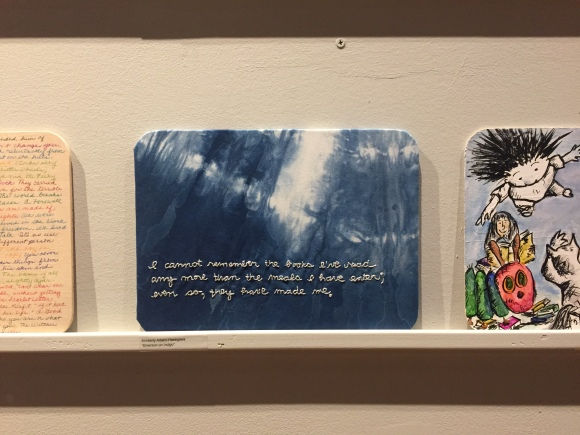 Kimberly Adami-Hasegawa embroidery project, Ralph Waldo Emerson quote, Forest Park Library, 100 Artist, Bottle Rocket Gallery