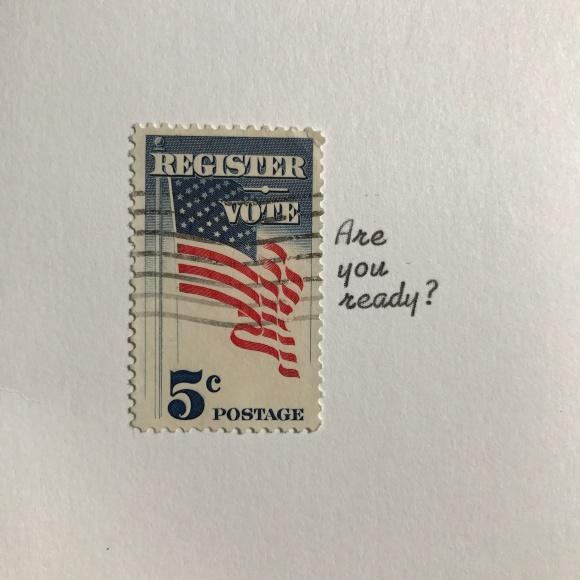 1964 Register Vote postage stamp, vintage postage, voter registration
