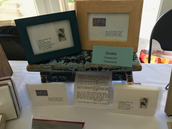 framed quotes with postage stamps, craft show table, Petite Boutique, Pleasant Home Oak Park, 2016