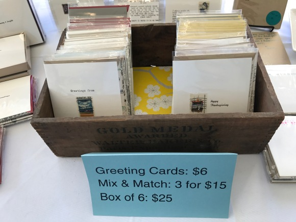 greeting card display, craft show table 2, Petite Boutique, Pleasant Home Oak Park, 2016