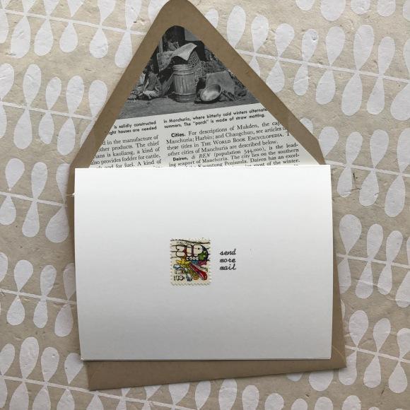 GalaxieSafari hand-typed vintage postage card, zip code stamp, send more mail