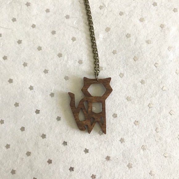 Simply Anderson laser cut wood origami cat necklace, HoneyCraft market