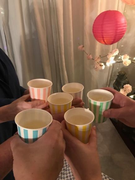 Kimberly's hanami picnic, paper cup toast, sakura, cherry blossom