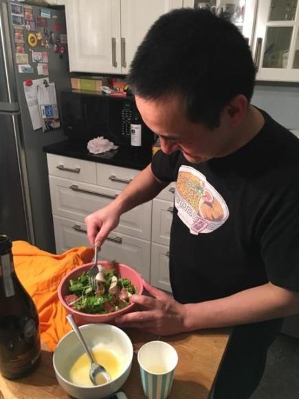 Kimberly's hanami picnic, Naoto making the salad, sakura, cherry blossom
