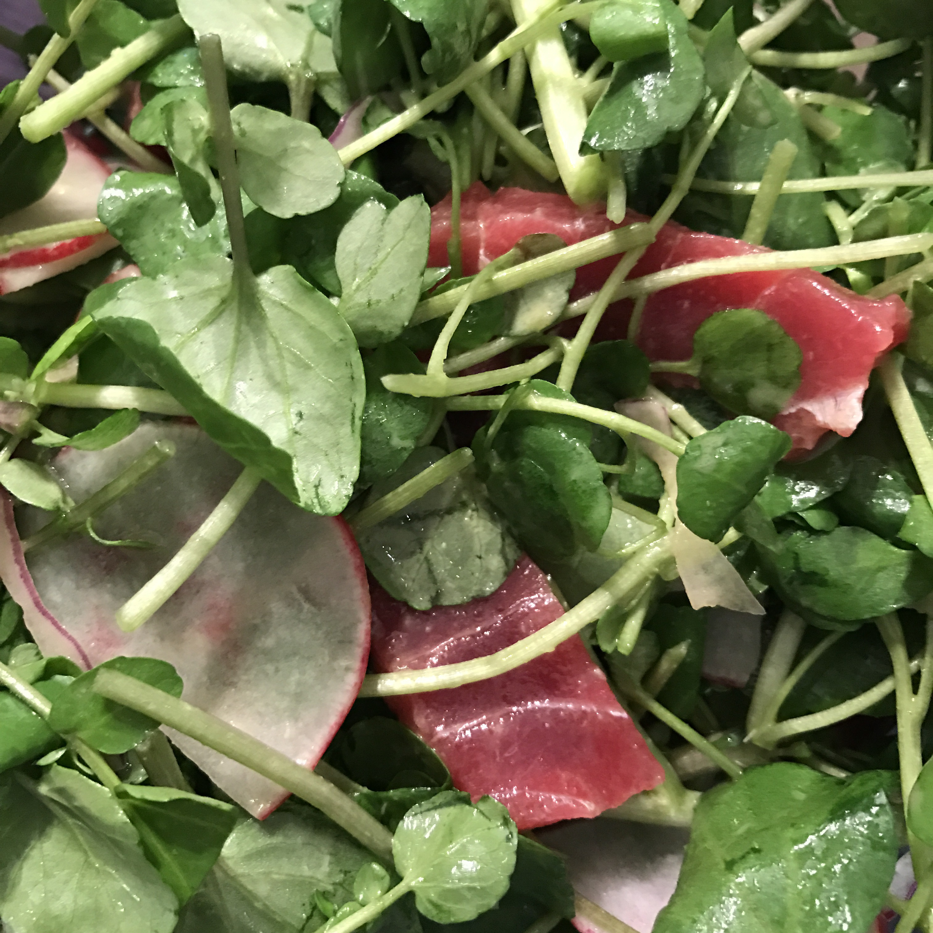 tuna and watercress with wasabi ponzu dressing