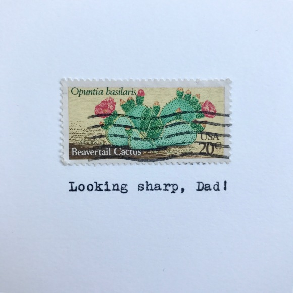 Galaxie Safari, father's day card, looking sharp dad, vintage postage, desert flowers stamp