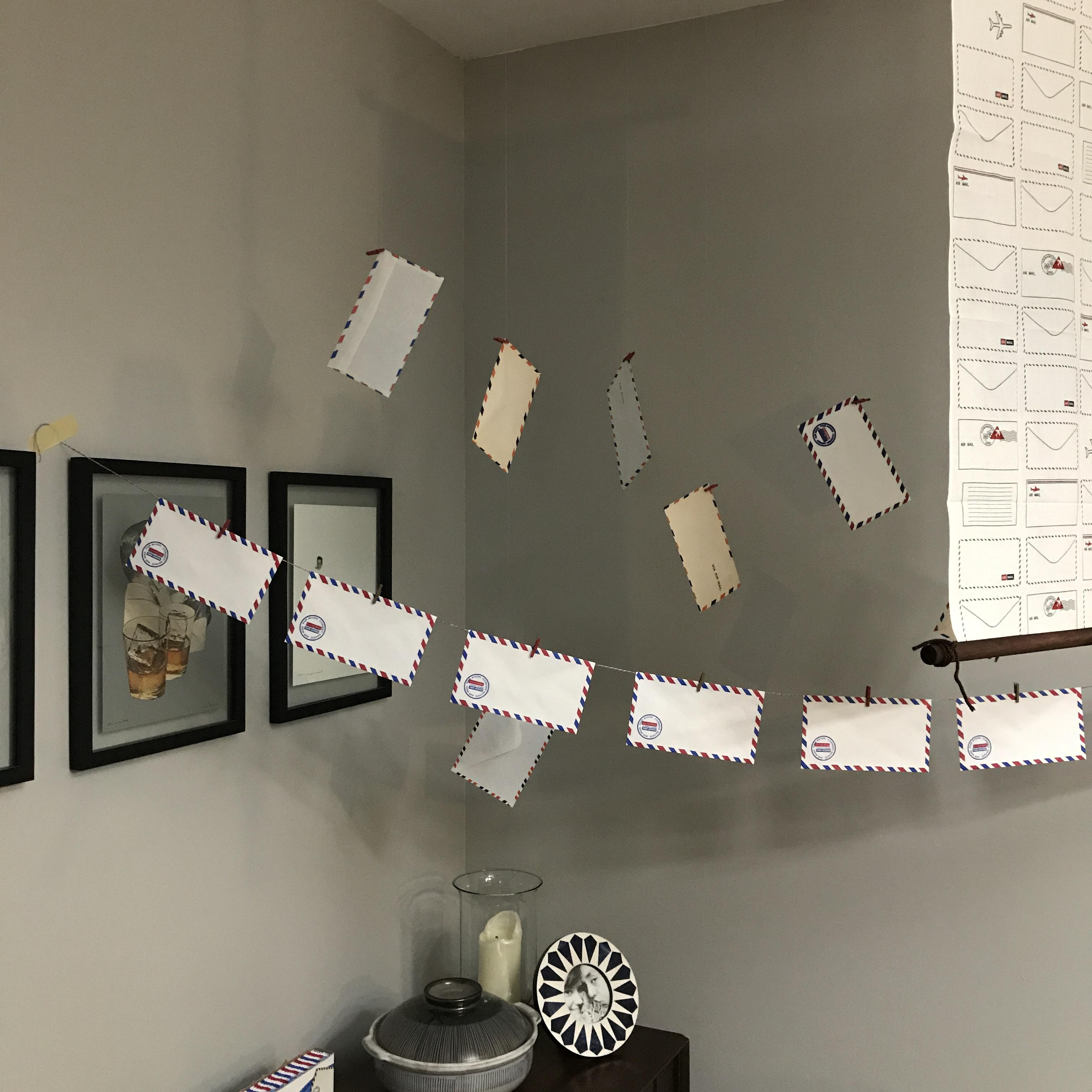 air mail envelope garland, Write On party set-up 4, National letter writing month