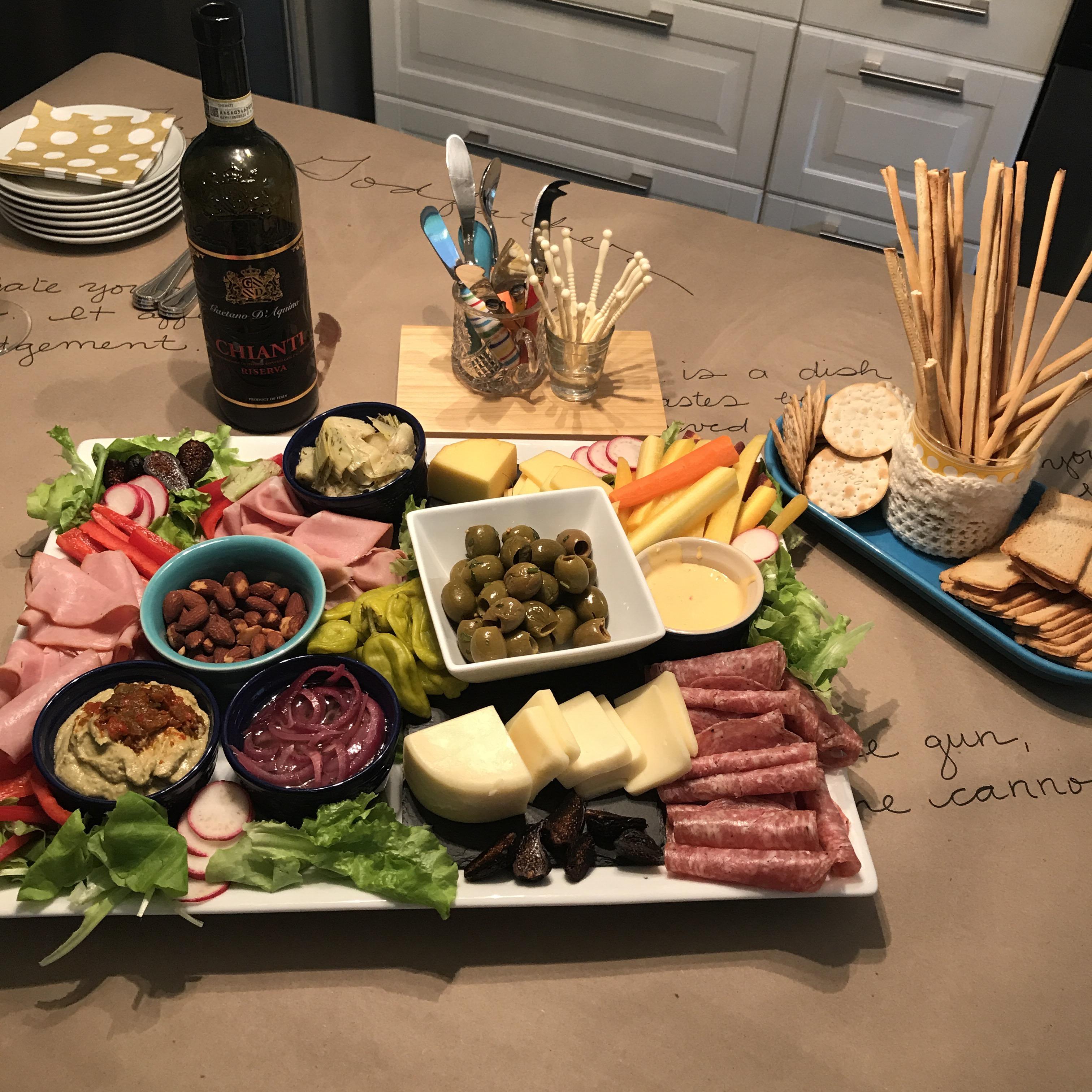 antipasto platter, antipasto, italian meats, italian cheese, the godfather party