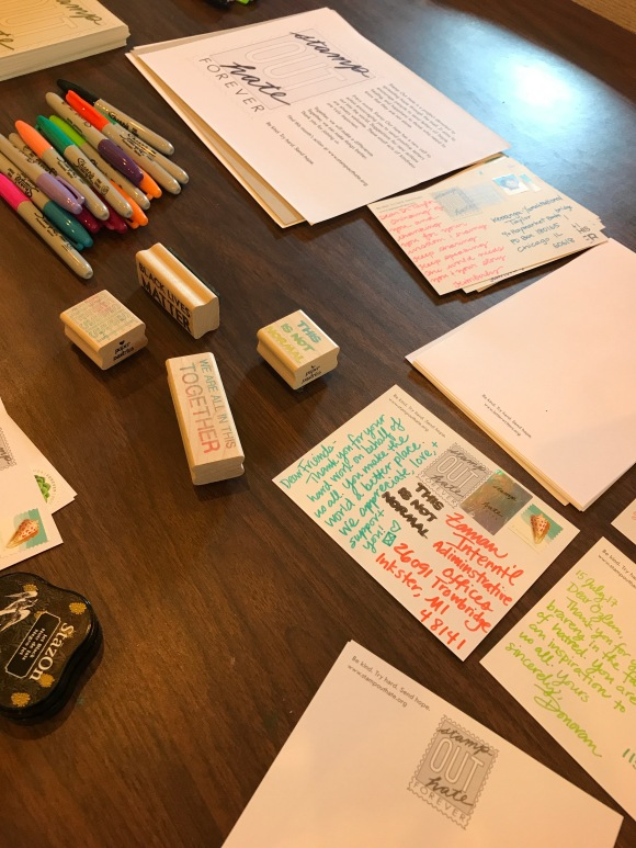 Stamp Out Hate, resist, #resist, political postcards, Paper Pastries, sakura moonlight gel pens, letter writers alliance
