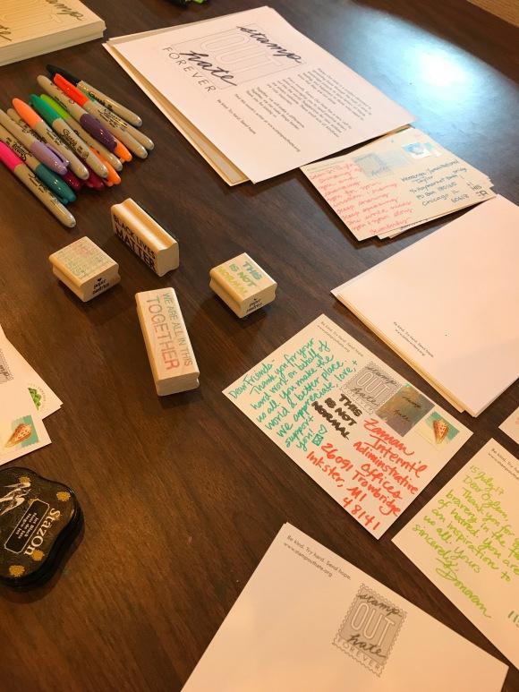 Stamp Out Hate, resist, #resist, political postcards, Paper Pastries, sakura moonlight gel pens, letter writers alliance
