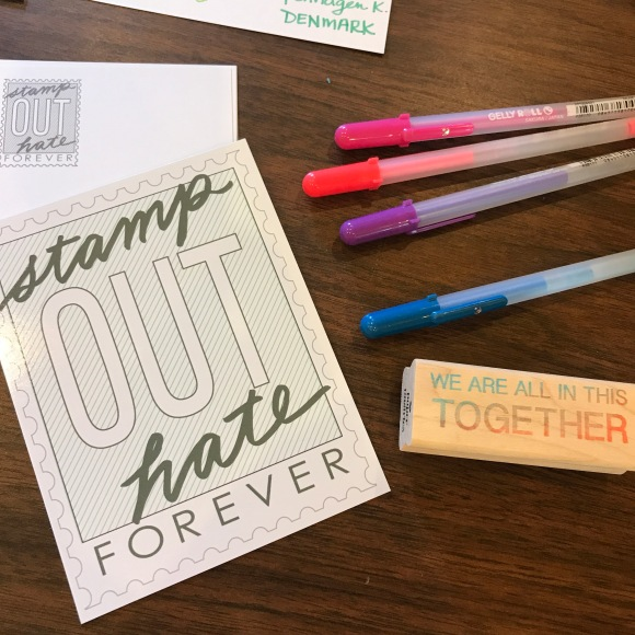 stamp out hate resist resist political postcards paper pastries sakura moonlight gel pens letter writers alliance