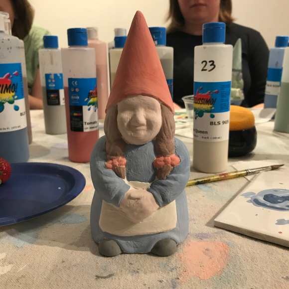 norma the gnome 2, creativita forest park, ceramics painting, forest park community garden