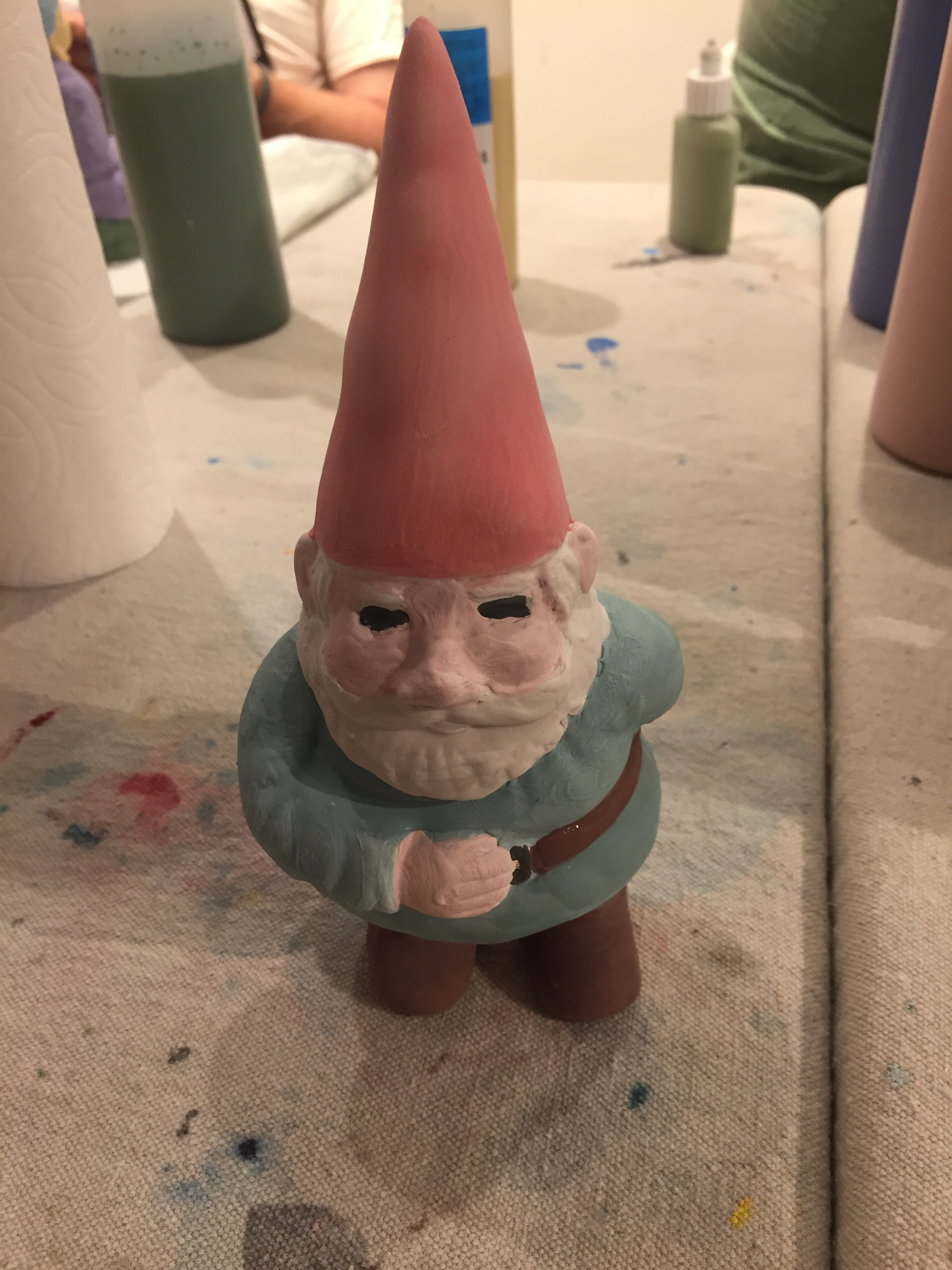 norm the gnome 2, creativita forest park, ceramics painting, forest park community garden