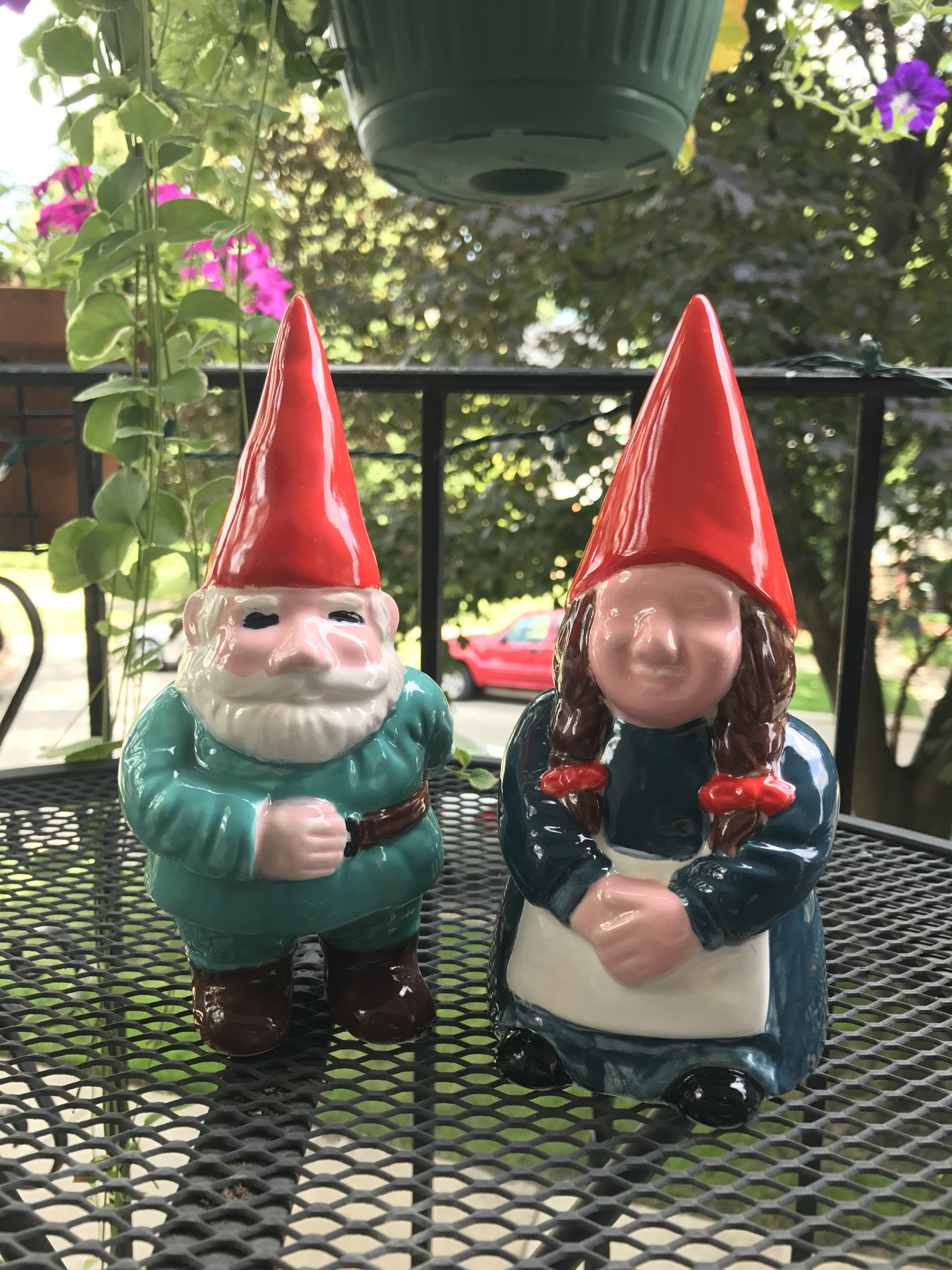 finished gnomes, creativita forest park, ceramics painting, forest park community garden