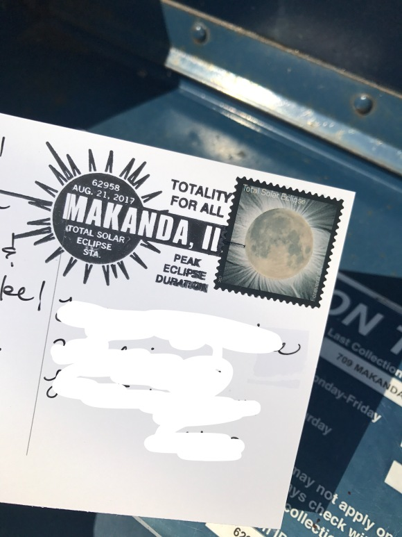 solar eclipse, postmarks, Makanda, IL, path of totality