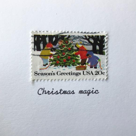 Galaxie Safari, christmas card, vintage postage stamp, vintage typewriter, holiday greetings, greeting card
