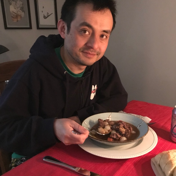 Naoto eating Christmas dinner, Julia Child's beef bourguignon