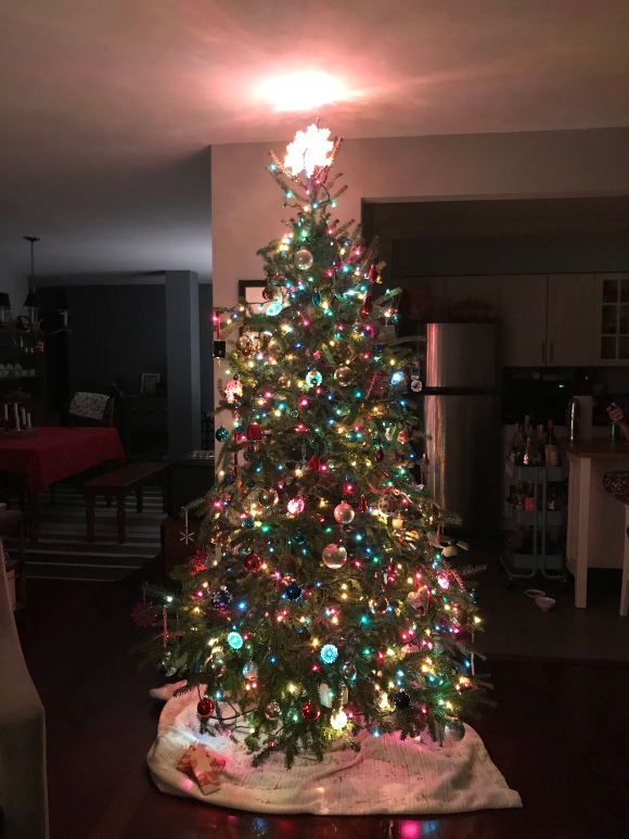 Christmas tree 2017, Costco tree, colored lights.