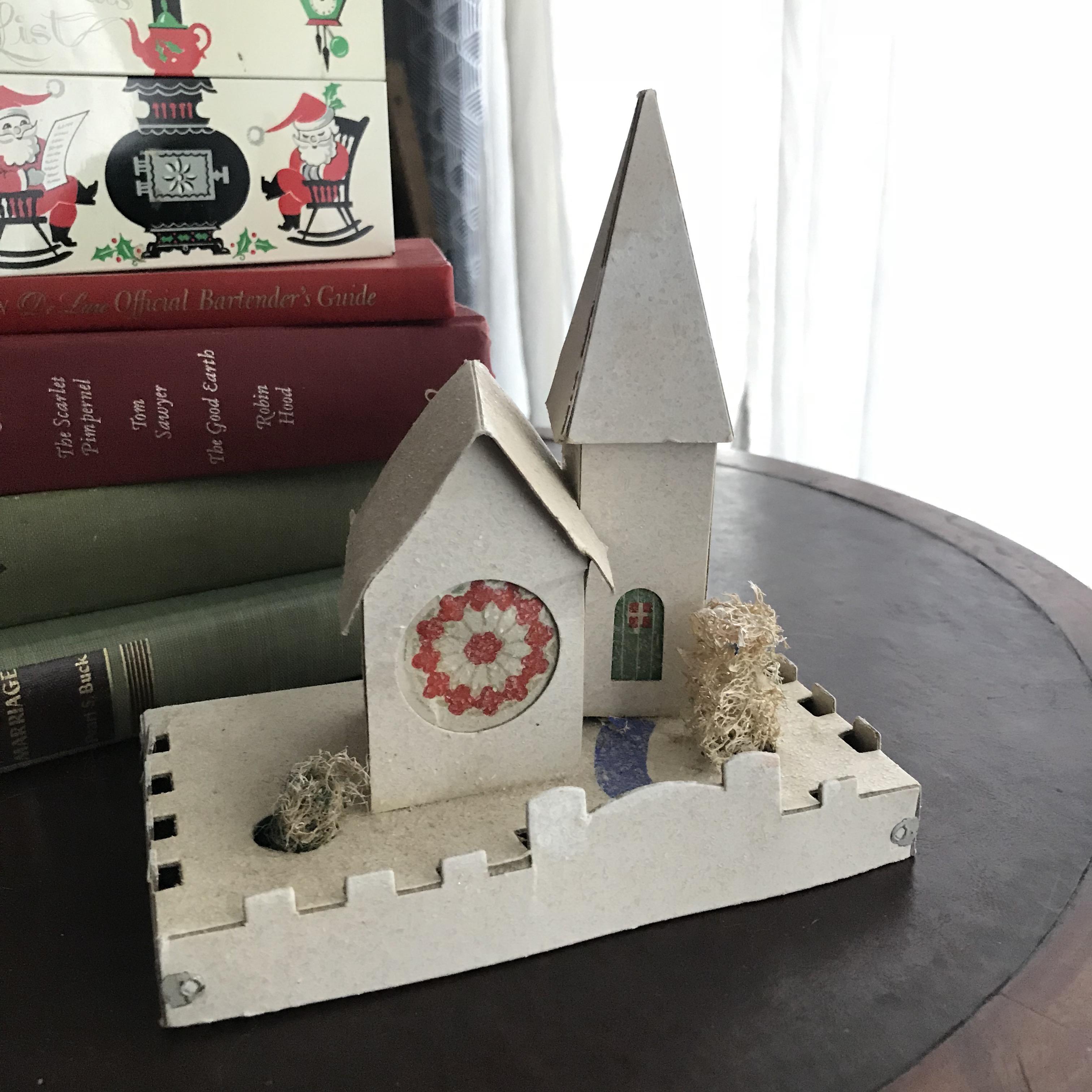 Putz houses, vintage paper houses, christmas village, putz church