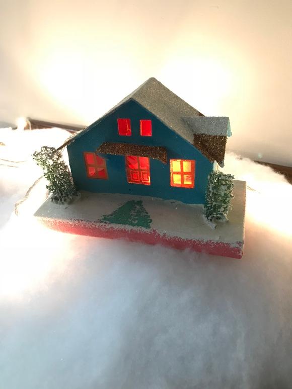 Putz houses, vintage paper houses, christmas village