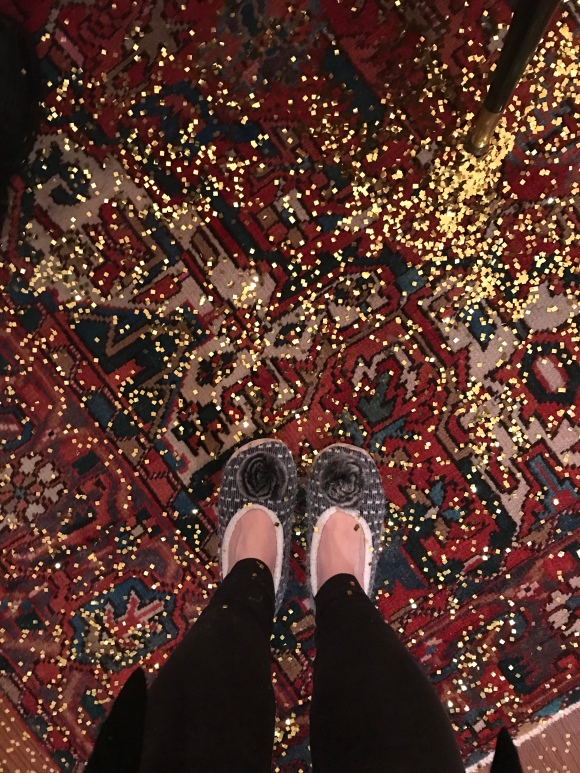 New Years Eve glitter, slippers