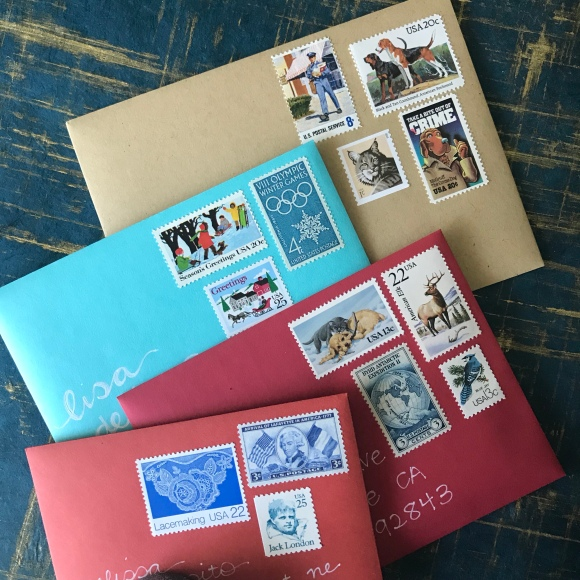 feed your mailbox, sending mail, new years cards, vintage postage stamps
