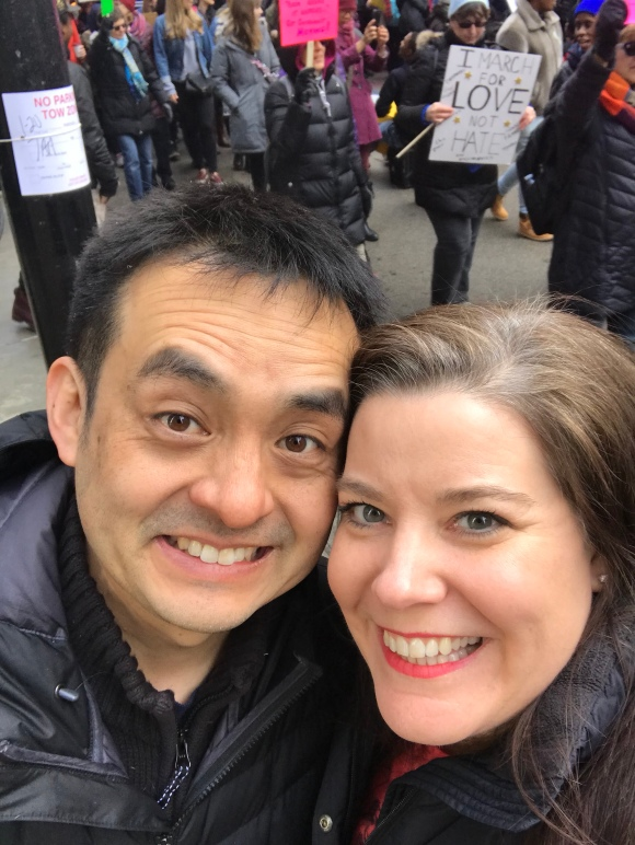 Women's March Chicago 2018, Federal Plaza Chicago, Kimberly & Naoto at Women's March