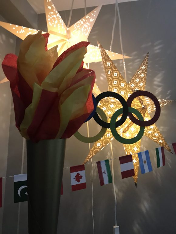 Olympics decorations, Olympic rings decoration, Olympic torch decoration, Olympic flags