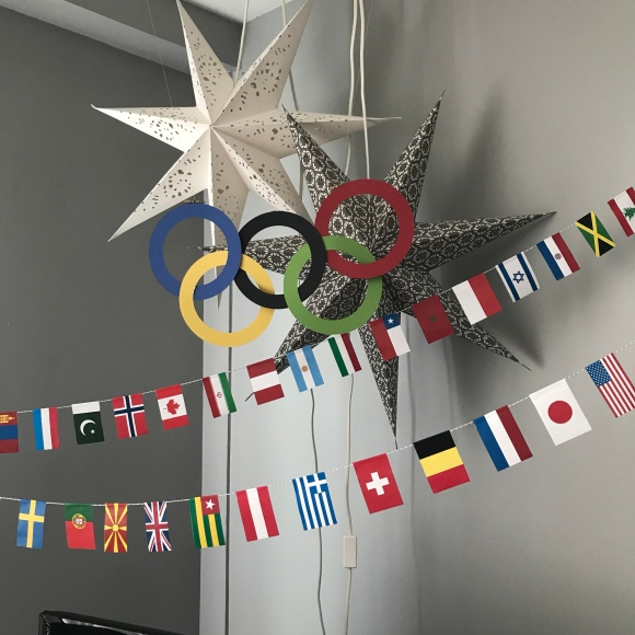 olympics rings, olympics decorations, world flags, winter olympics, olympics party