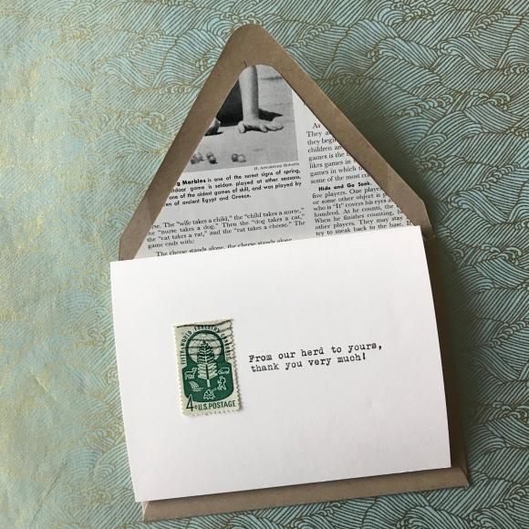 galaxie safari, vintage postage, vintage typewriter, greeting cards, buffalo
