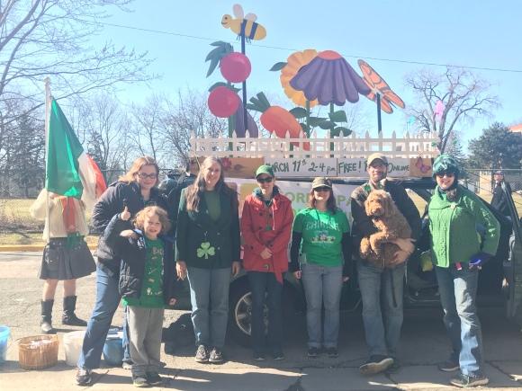 forst park community garden, forest park st patricks day parade, community garden parade float