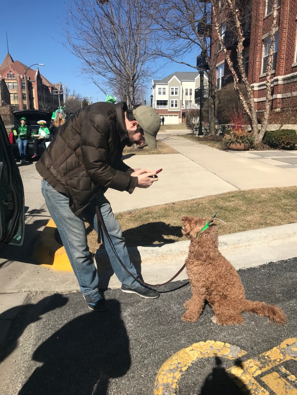 forst park community garden, forest park st patricks day parade, community garden parade float, parade dog