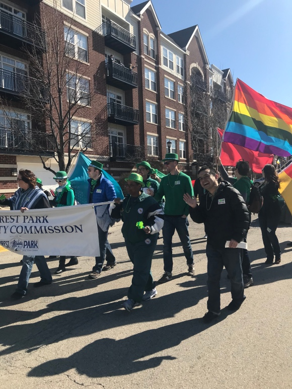 forest park st patricks day parade, rainbow flag, pride flag, diversity, forest park diversity commission