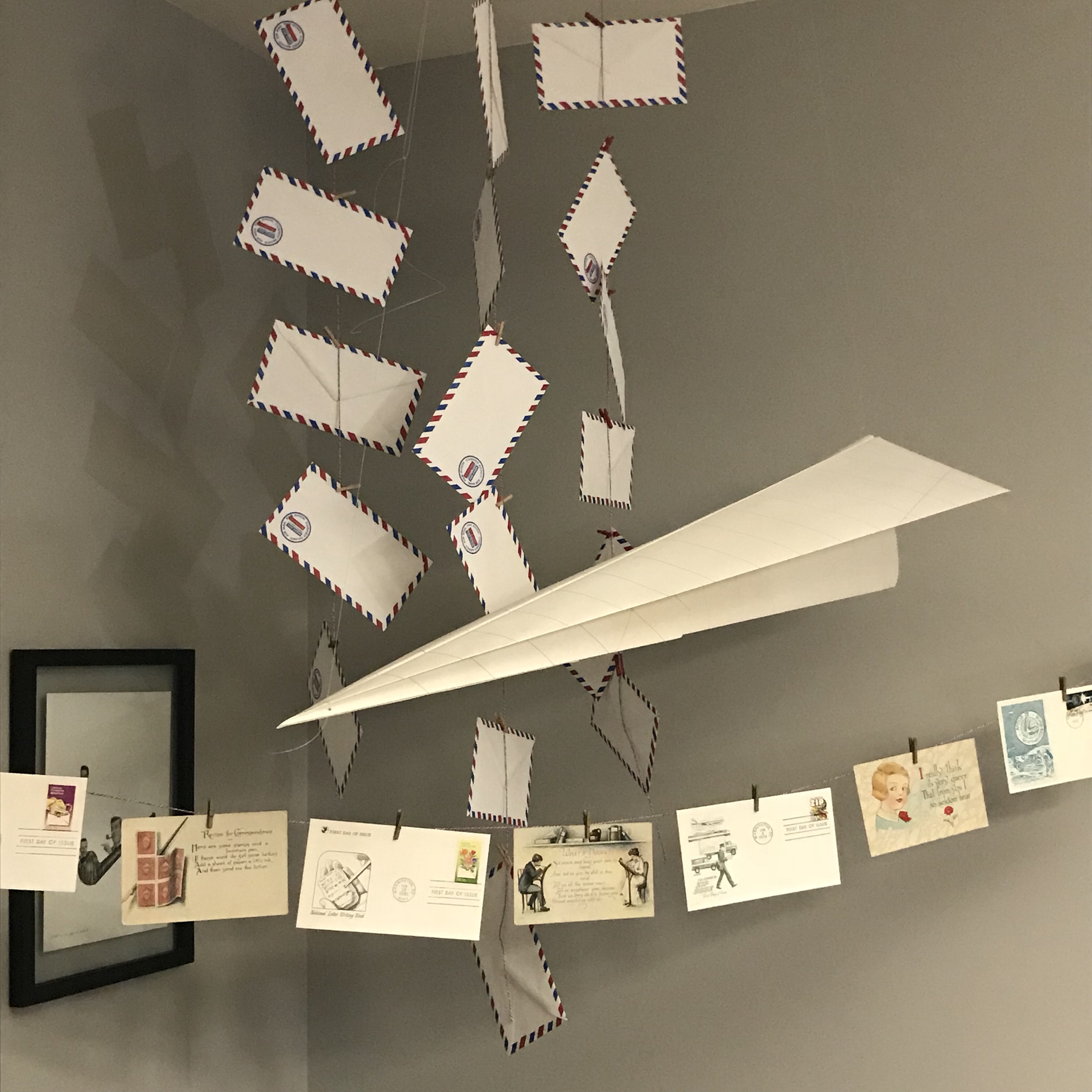 letter writing party decorations, letters & libations, paper decorations, mail decorations