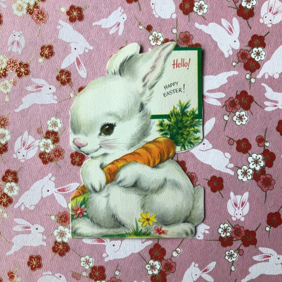 vintage easter card, vintage greeting card, easter bunny