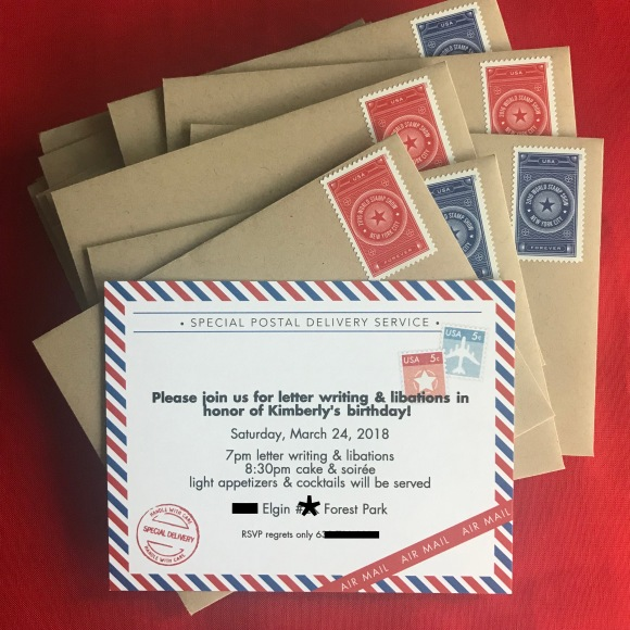 airmail invitation, paper source invitation, letters & libations invitation