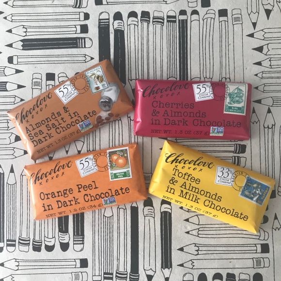 Chocolove chocolate bars, mail more chocolate, non-gmo chocolate, snacks for writing letters