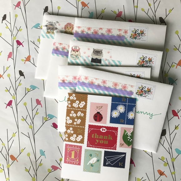 write on, national card and letter writing month, show and mail, stack of mail, spring cards, snow and graham, thank you notes