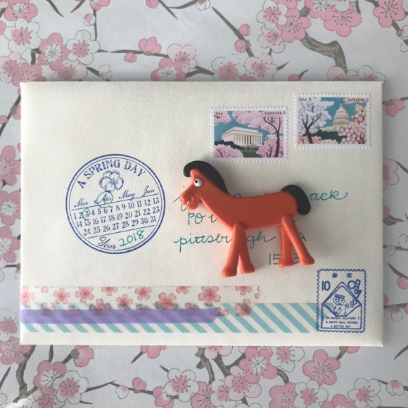 write on, national card and letter writing month, show and mail, stack of mail, spring cards, cherry blossoms