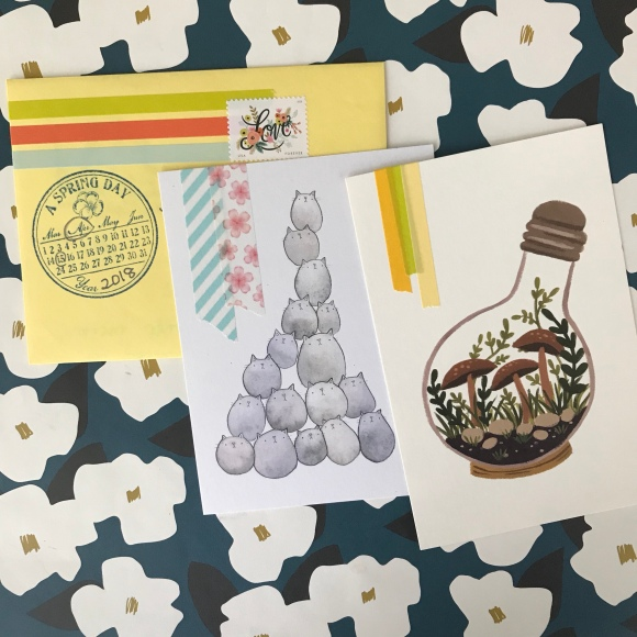 write on, national card and letter writing month, show and mail, stack of mail, spring cards, cherry blossoms, Rifle Love Stamp, Migration Goods