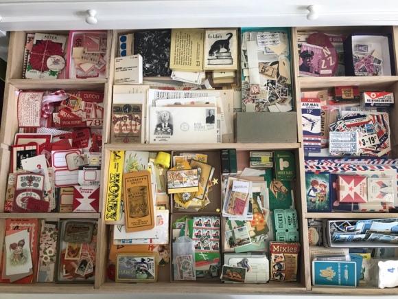 vintage paper drawer, martha stewart flat files, vintage ephemera, vintage paper, colors