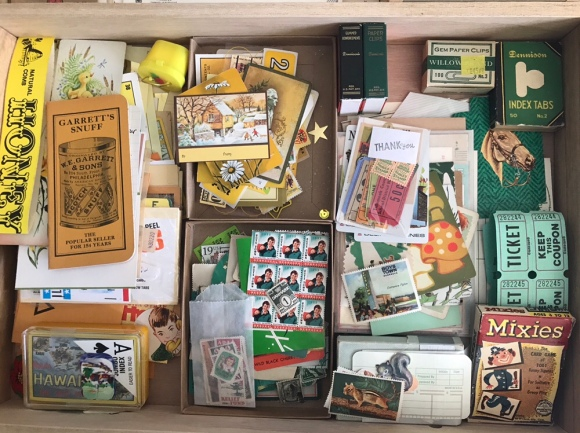 vintage paper drawer, martha stewart flat files, vintage ephemera, vintage paper, colors