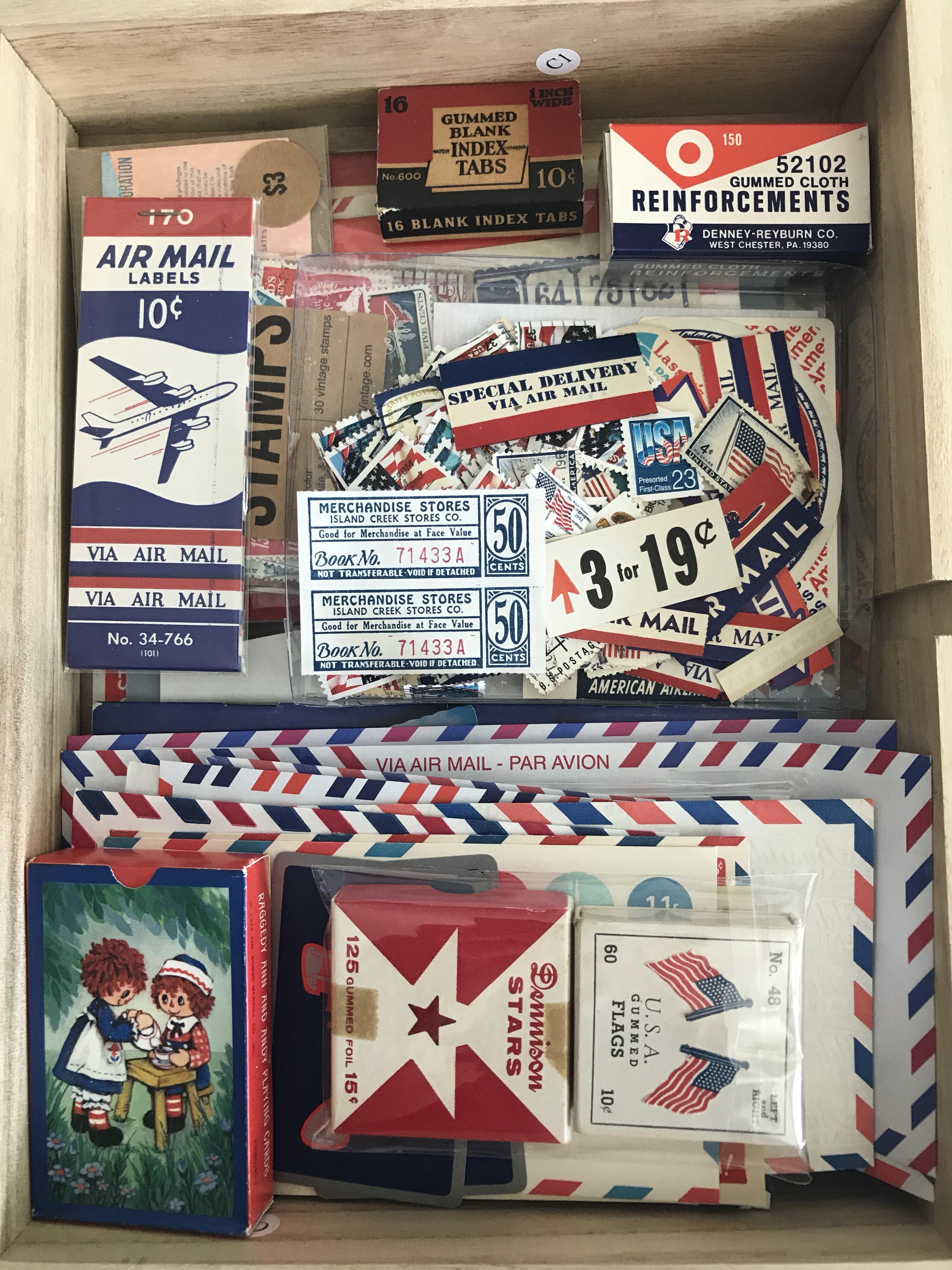 vintage paper drawer, martha stewart flat files, vintage ephemera, vintage paper, colors, red white and blue, patriotic