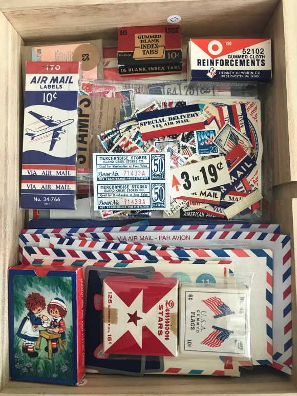 vintage paper drawer, martha stewart flat files, vintage ephemera, vintage paper, colors, red white and blue, patriotic