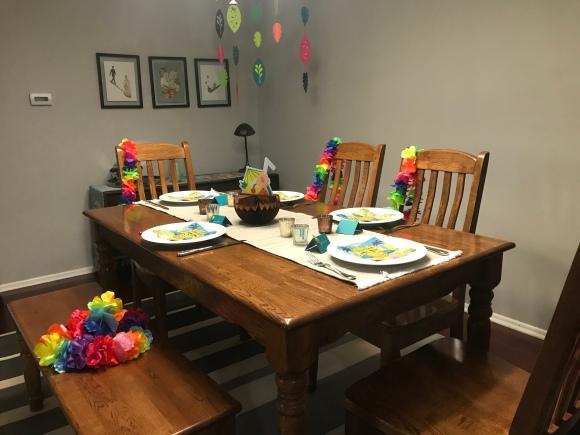 tiki birthday party, aloha birthday, #jktikiparty, tiki party, table setting, leis